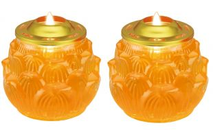 Crystal candle (L) lotus shape , a pair (Yellow , 5.5 days/a piece)