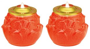 Crystal candle (L) lotus shape , a pair (Red , 5.5 days/a piece)